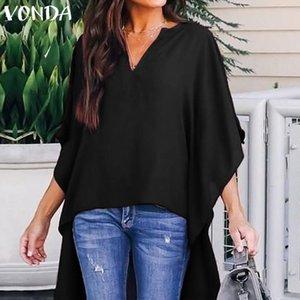 Vonda Tunica Blusa para mujer 2019 Verano Sexy Sección en V Asimétrica Saum Blosa Mujer Talla grande Camisa Larga Tops S S S -5xl Y19071201