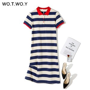 WOTWOY Summer Striped Plus Size Polo Dress Women Knited Cotton Long T-shirt Dresses Women Casual Short-sleeved Vestidos De 3XL Y200601
