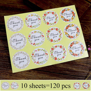 1200Pcs Handmade Flower Paper Stickers Thank you Adhesive Sealing Label Stickers For Gifts Girls Craft Stickers