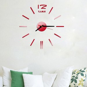 Stickers Fashion Clock Acrylic Plastic Mirror Wall Home Decal Decor Vinyl Art Stickers for Home Bedroom Wall Paper Mirror Surface