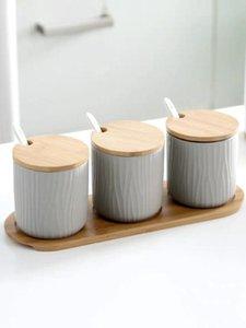 Nordic Ceramic Gewürz Glas Pfeffer Salz-Gewürz-Flasche Behälter-Speicher-Zahnstangen-Halter Küche Storage Bottle Set Kombi