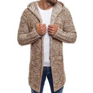 Erkek Ceket Kapşonlu Spor Katı Örme Trençkot Ceket Hırka Uzun Kollu Dış Giyim Bluz erkek Ceket Yün Windproof