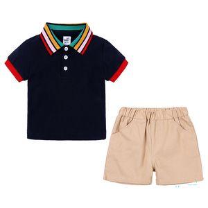Детская одежда Радужный воротник поло рубашка короткие брюки костюм мальчик одежда наборы наряды футболка + шорты 2 шт. Комплект спортивные костюмы одежда CZ326