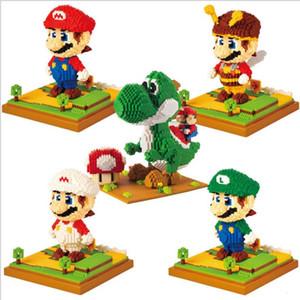 Neues Spiel Super Mario Luigi Yoshi Monster Feuer Bee Mario Tasche Monster DIY Mini-Gebäude Diamant-Nano-Blöcke Spielzeug-Geschenk
