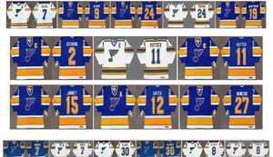 St. Louis Blues Vintage Jersey 24 Bernie Federko 19 Varilla Brind'Amour 7 Garry Unger 8 Barclay Plager 30 Jacques Plante Azul Blanco CCM Hockey