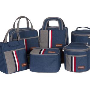 두꺼운 점심 가방 주방 주최 옥스포드 스트라이프 핸디 피크닉 학교 점심 스토리지 가방 여성 휴대용 기능적인 점심 가방 DH1138 T03
