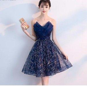 2019 Short Evening Dress Navy Blue Sequins Pleat V-neck Formal Party Dress