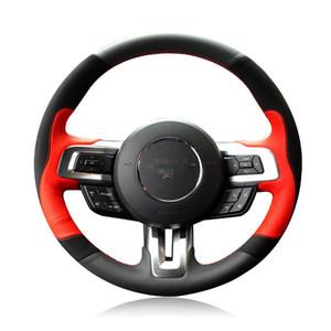 Pour Ford mustang 15-2017 DIY Couvre-volant de voiture cousu main en cuir Top