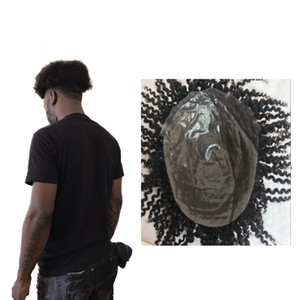 Afro Curly PU Toupee 8x10 '' Inch Afro Curly Full Pu Remy Men Toupee Высококачественная система замены волос Pu Мужчины парик