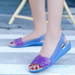 Eillysevens se deslizan en los zapatos de las mujeres de la jalea plana zapatos de los tacones Claro sandalias peep toe Beach Softs Sandales femme c27
