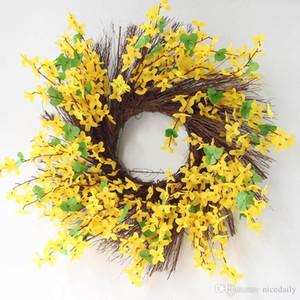 Artificial Garland Spring Forsythia Floral Twig Door Wreath - Seasonal Door Accent for Any Room, Yellow Color