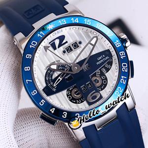 Yeni Executive El Toro / Black Toro Perpetual Calendar GMT 322-00-3 / BQ Beyaz Mavi Kadran Erkek İzle Çelik Kılıf Mavi Kauçuk Saatler Hello_Watch