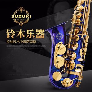Sell well Suzuki Alto Saxophone Professional Eb Unique Blue Surface Sax With Mouthpiece Case and Accessories Alto Sax