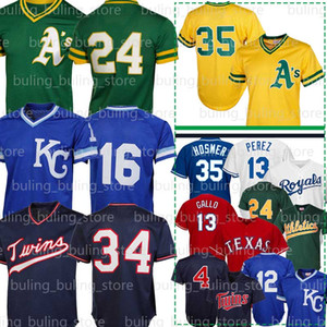24 Rickey Henderson jerseys 35 Rickey Henderson 16 Bo Jackson Kirby Puckett 13 Salvador Pérez Joey Gallo 44 Reggie Jackson Nolan Ryan Hombres