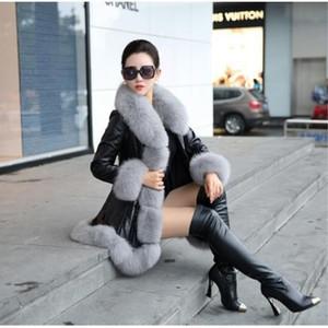 Vente chaude haute hiver femme fausse fourrure qualité imitation peau de mouton Manteaux Observe les chaud avec fourrure de renard Colliers Taille Slim Femme Fourrures plus T191109