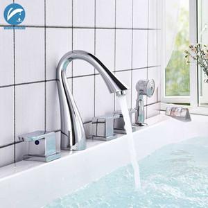Хром 5 шт. смеситель для ванны латунь настенный смеситель для ванной комнаты 3 ручки широко распространенная ванна смеситель Torneiras вытащить ручной душ