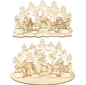 Weihnachten Holz-Spielzeug-Weihnachten Lustige Party-Desktop-Dekoration Weihnachten hölzerne Verzierungen Dreidimensionales Kinder Spielzeug Dekoration