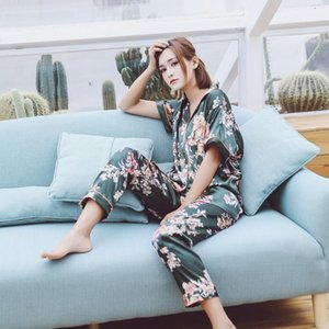 2019 New Spring Summer Satin Sleepwear Short Sleeve Women Pajama Sets With Pants Flower Print Elegant Pijama Nightsuits Pyjama