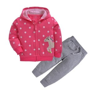 cartoon unicorn hooded long sleeve jacket+pants baby girl clothes 2019 fall boy outfit infant clothing cotton 2pcs toddler set