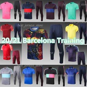 Barcelona 20 21 mais recente formação terno Messi GRIEZMANN manga curta F. DE JONG polo conjunto SUAREZ calças cortadas PIQUE futebol treino