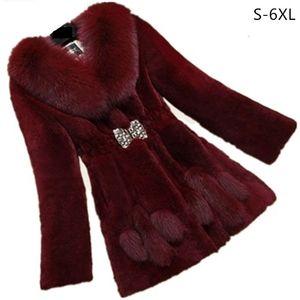 6XL Plus size winter Faux fur jacket women Korean Artificial  fur collar Warm coat jacket High-end fashion long coats AS928