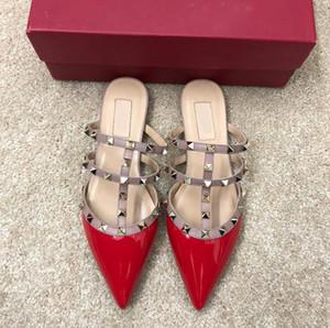 kadınlar düz ayakkabı lüks sandaletler mokasen yaz Gerçek Deri ayakkabı kaliteli Düz ayakkabılar markaların terlik 2019 tasarımcı perçinler