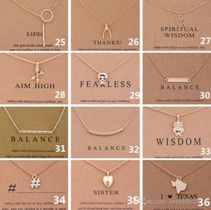 38 Style Dogeared Choker Colliers Avec Carte Licorne Amour Coeur Éléphant Perle Cercle Pendentif Collier Plaqué Or Chaîne Fine Jewelry A336