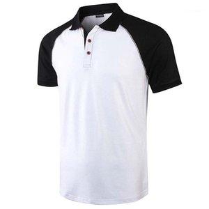 Camisetas Casual cuello solapa de Contraste de manga corta camisetas remiendo de la manera del color camisetas para hombre Ropa para hombre del diseñador
