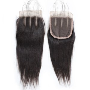 Seidige gerade Mode-Spitze-Schliessen 4 * 4 1PC Mittlerer Teil drei Teil brasilianische Malaysian peruanische Jungfrau-Haar Schweizer Spitze-Schliessen