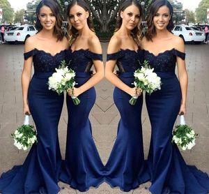 Дешевые 2020 темно-синий шнурок платья невесты Bohemian Cap рукава шифон атласная Свадебные платья для гостей Сад горничной честь халатов BM1977