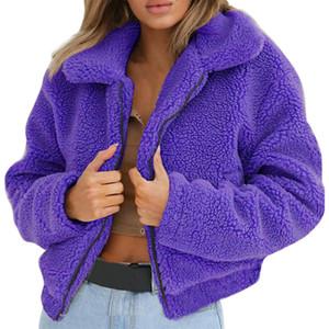 Abrigo de piel de cordero Sudaderas Moda Mujer Otoño Invierno Sólido Manga Larga Cremallera Jerseys Espesar Cálido Abrigos de Piel Casual 6Q2302