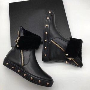cuero genuino Marca tendencia plataforma de punta redonda plana mantener decoración de piel botas de nieve de protección contra el frío chinita chica calientes