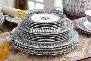 58pcs Preto e simples osso branco China Dinnerware definido placas louça de porcelana cerâmica tigelas xícaras e pires atender presente criativo casamento
