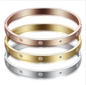 Brazalete de oro rosa Amor por los brazaletes Mujer Hombre pareja de titanio de acero con regalo del día de San Valentín diamante de la CZ