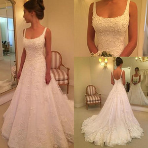 Hot Selling Wedding Dresses Spaghetti Square Neck A Line Sweep Train Lace Embroidery Tiered Wedding Gowns