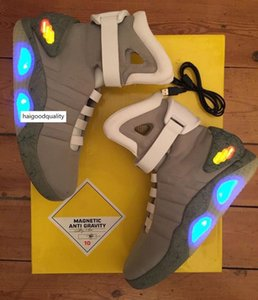 Limited Edition Air Mag Back To The Future Glow In The Dark Gray Sneakers Marty Mcfly ' ;S Led Shoes Lighting Marty Mcflys Mags Black Re
