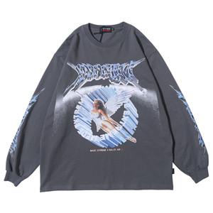 Mulher Manga Graphic Tees anjo Top Shirt Casal Roupa Oversized T shirt 2020 mulheres Roupa Moda Primavera Streetwear Y200623