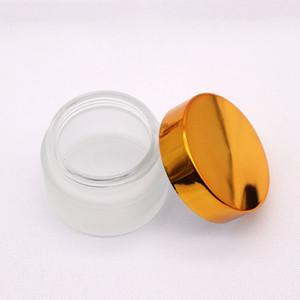 30г 20г 10г Frost Glass Cream Jar с белыми черного золота Lids 1oz Пустой стакан Контейнер Косметические Jar