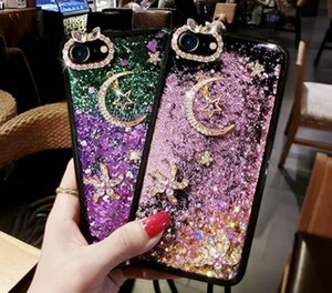 Moda Lua Popular e Star Quicksand Cell Phone Capa Para XS / note XR XS MAX 8plus samsung S8 S9 9