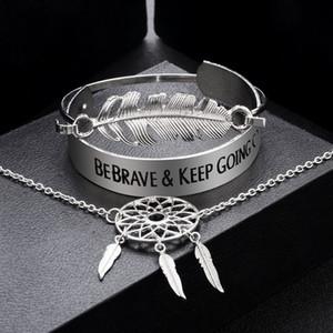 Браслеты Комплекты Vintage Big Metal Женщины Письма BEBRAVE СОХРАНИТЬ GPING браслеты подарка ювелирных изделий Dreamcatcher браслет
