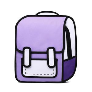 Designer-2D-Karikatur-Schule-Rucksack Kinder Mädchen und Jungen Zeichnung Platz Back Bag Comic Knapsack Bolos Schulranzen für Teenager Concise Tasche