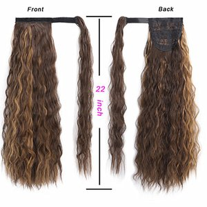 Wig Female Chemical Fiber Hair Long Curly Hair Velcro Invisible Ponytail 22 Inch Corn Roll Ponytail Wig