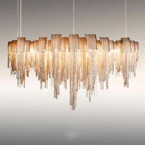 Modern Luxury nappa Led Chandelier argento Oro di alluminio Catena G9 Lampadario Lampada Luster il nuovo disegno Hang