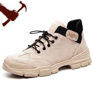 Inverno da pele de porco Segurança do Trabalho Calçados Toes respirável aço deslizamento sobre botas casuais para sapatas segurança do trabalho dos homens do soldador proteção