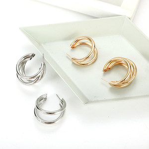 Hot Fashion Jewelry Women's Vintage Layers Cute Stud Earrings Gold Silver Color S224