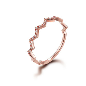 Luxury jewelry wave zircon rings for women s925 sterling silver single row diamond ring tricolor optional