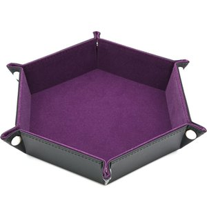 Dice Pu Leather Folding Hexagon Tray W Purple Velvet For Rpg,Dnd,Other Dice Games And Storage