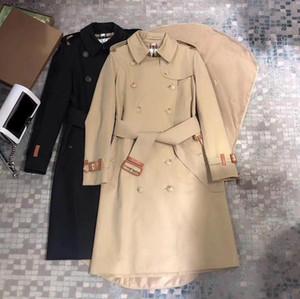 Trench da donna Cappotto lungo giacca a vento sciolto top tinta unita doppio petto stile inglese autunno inverno 35 gu4