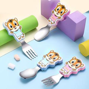 infantiles cucharas de cubiertos de acero inoxidable Conjunto de seguridad para niños y tenedores Conjunto de tigre lindo de la historieta del niño de utensilios de metal cubiertos conjunto de la caja del almuerzo