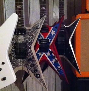 Rare Guitar Shaped Wash Dime 333 Dimebag Darrell Signature Rebel drapeau confédéré rouge guitare électrique Floyd Rose Tremolo, Matériel noir